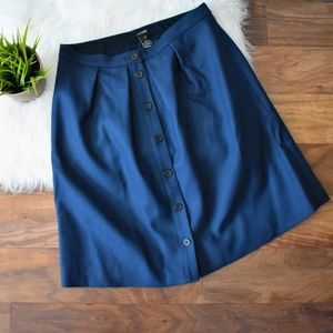 NWT Button Front Knee Length Navy J Crew Skirt